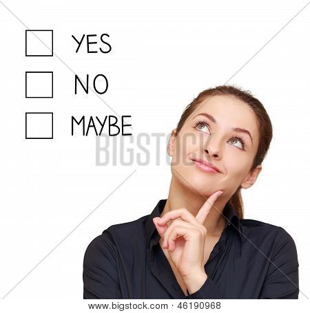 Thinking Business Woman Making Decision Yes, No Or Maybe Isolated