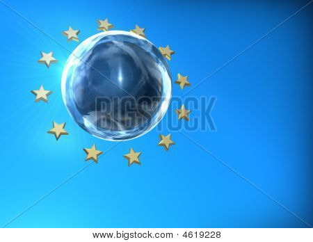 euro stars abstract composition with blue background poster