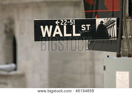 NEW YORK - MAY 30: A Wall Street street sign is shown on May 30, 2013 in New York City.