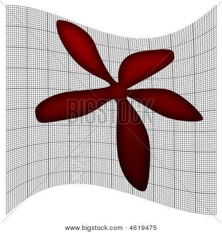 Pretty Red Flower On Scientific Graph Paper Grid