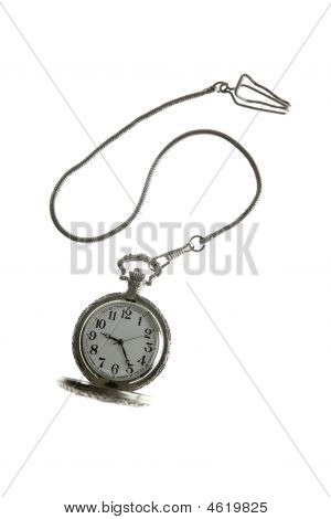 Old Silver Pocket Watch Clock With Chain