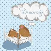 Baby bear dreaming poster