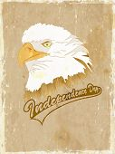 4th July, American Independence Day vintage background with national bird Eagle. poster
