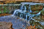 Long exposure of a beautiful cascading waterfall in the spring time in High Dynamic Range. poster