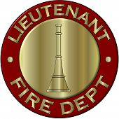 Fire Department Lieutenant Collar Brass in Red and Gold poster