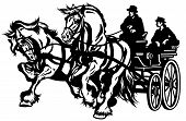 two horses drawn carriage black and white isolated illustration poster