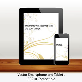 Vector tablet and mobile phone mockup scene in white background - placed on a textured wood board