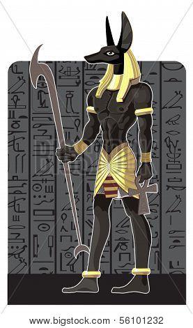 Mighty Great dark Anubis on dark Egypt background