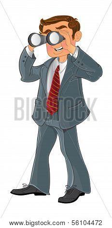 businessman with binoculars look on money