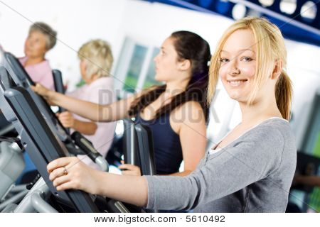 Girl Working Out At The Gym