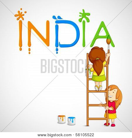vector illustration of kids painting tricolor India poster
