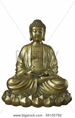 Golden Buddha sits in the lotus posture. Isolation is on the white background. poster