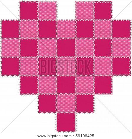 Cerise and hot pink patchwork valentine heart with cross stitching. poster