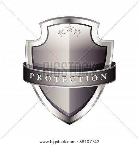 Glossy Shiny Grey Vector Shield Protection Icon