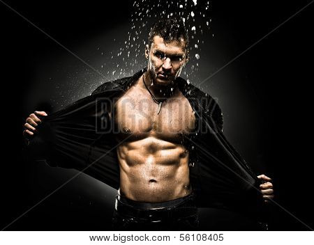 the very muscular handsome sexy guy under shower naked torso poster