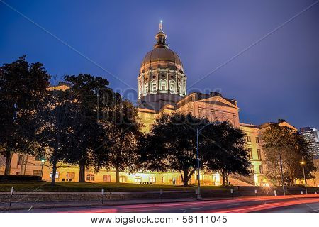 Georgia state capitol building in Atlanta at night