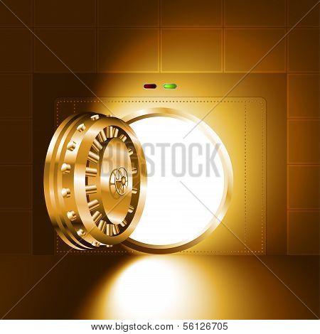 Light open door safe gold
