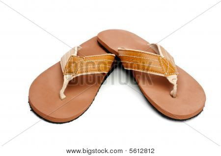 Horizontal Image Of Flip Flop Sandals On White