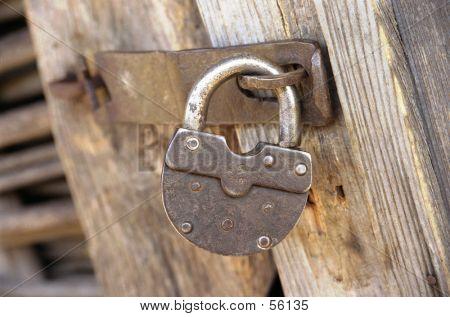 Metal Lock On Wooden Door