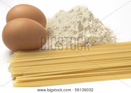 Flour eggs and pasta