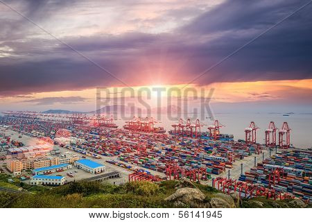 Busiest Container Terminal At Dusk