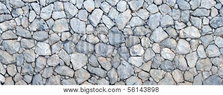 Panorama of stone wall background and texture poster