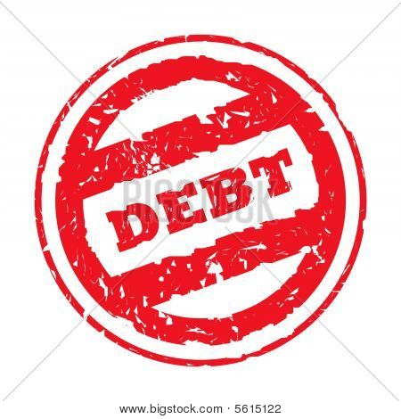 Red Used Debt Stamp