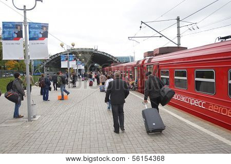 MOSCOW - SEPTEMBER 26: Aeroexpress Train in Moscow Domodedovo Airport September 26, 2013 in Moscow, Russia. Aeroexpress trains make trips to Moscow Domodedovo Airport daily, according to the timetable