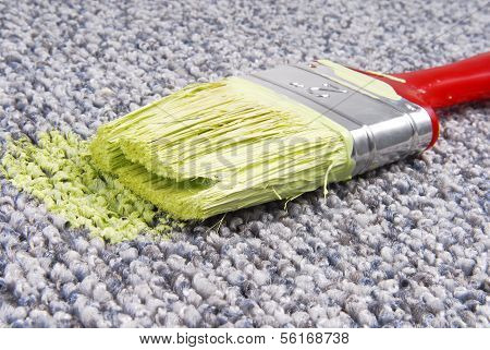 paint brush on stained carpet