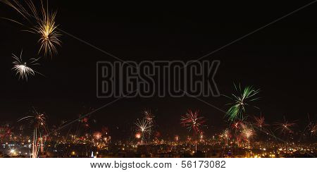 New year's eve fireworks in the city of Arequipa Peru. Panorama with room for text poster