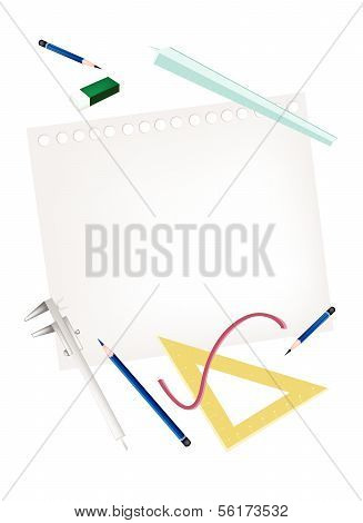Pencil And Caliper With Rulers And Eraser On Blank Page