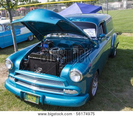 1952 Blue Chevy Delivery Sedan Front View