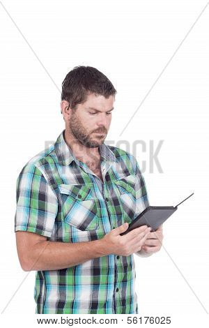Deaf Or Hearing Impaired Man With E-reader
