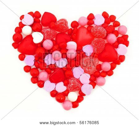 Heart made of assorted Valentines Day candies poster