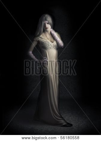 Creepy Vampire Woman With Cracked Skin In Dark Den