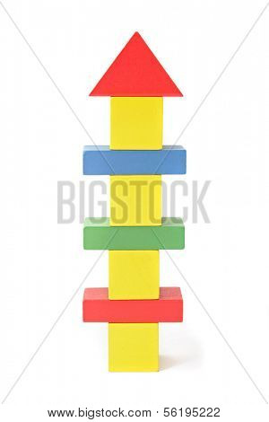 A sytlized skyscraper out of colorful blocks. All isolated on white background.