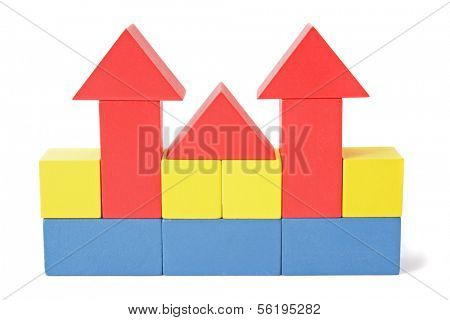 A stylized building out of colorful blocks. All isolated on white background.