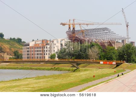 Building The City Stadion In Skopje, Macedonia