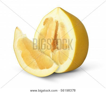 Half Of Pomelo Fruit With Slice Isolated On White