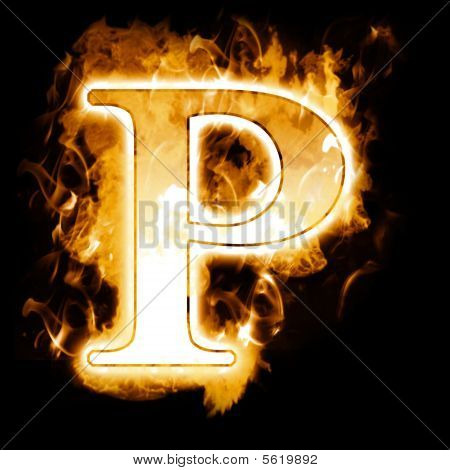 Burning Letter with true flames and smoke - (True Flames Alphabet) poster