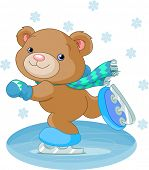 Illustration of cute bear on ice skates. Raster version.  poster
