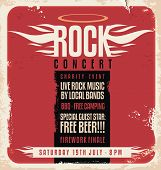 Rock concert retro poster design template on old paper texture. poster