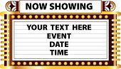 A Broadway style Art Deco movie theater marquee to announce schedule of events such as movie recital play or magic show poster