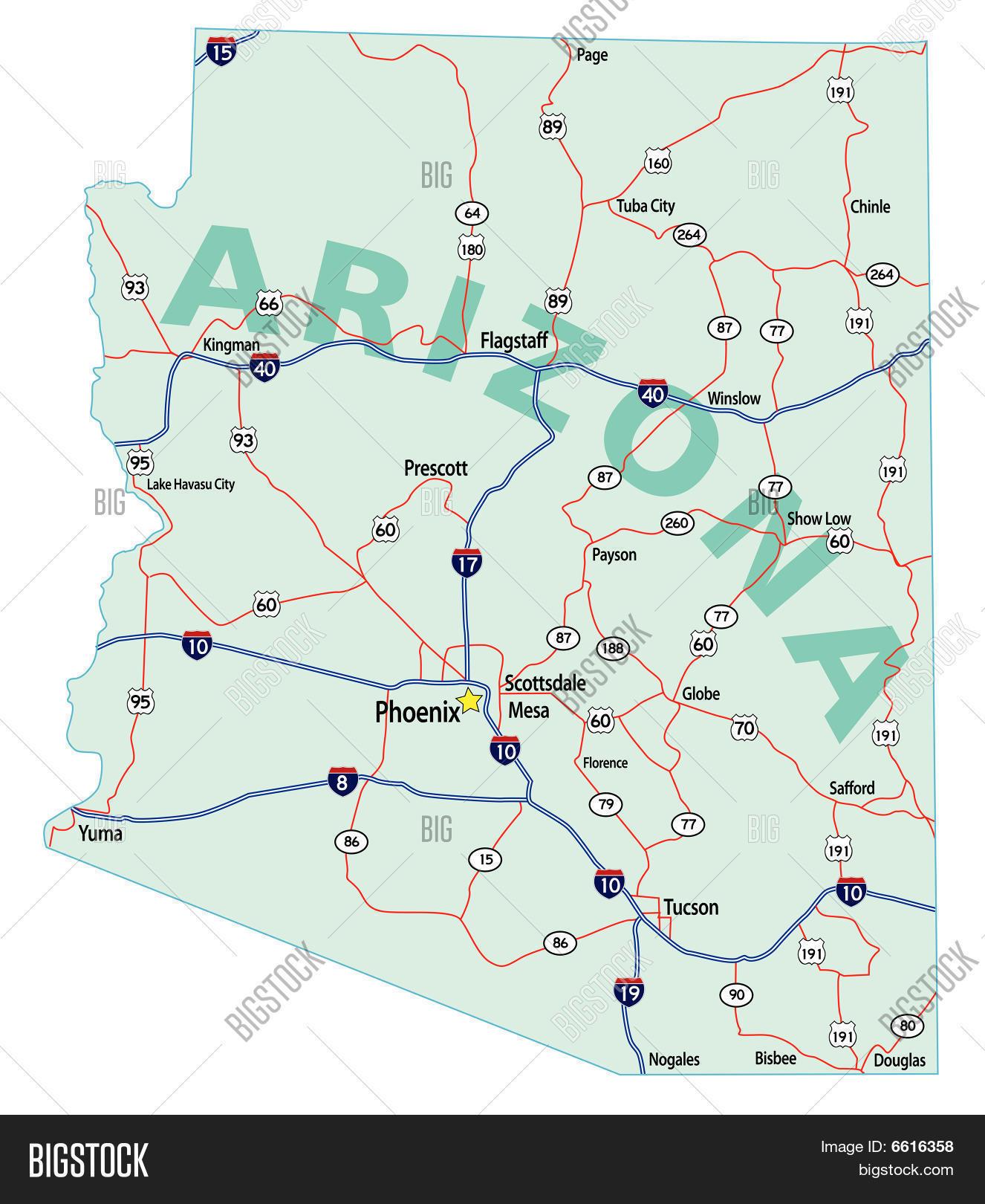 Arizona State Map Free.Arizona State Vector Photo Free Trial Bigstock
