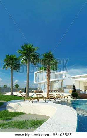 Luxury modern white house with angular walls and large windows overlooking a tropical landscaped garden with palm trees and curving blue swimming pool