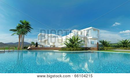 Beautiful idyllic white luxury tropical villa surrounded by palm trees overlooking a sparkling turquoise blue swimming pool