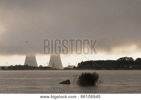 flying bird and cooling towers of nuclear power plant poster