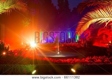 Light Show In Night Park In Bad Pyrmont