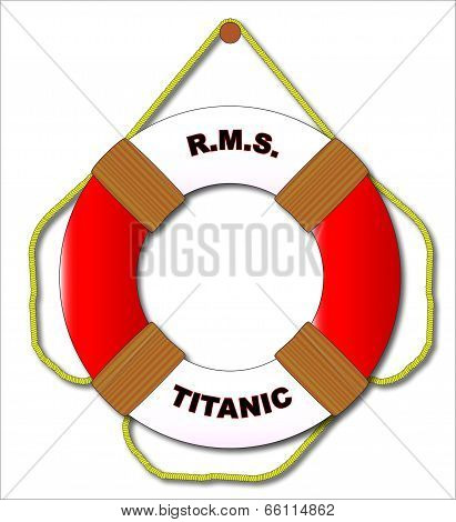 A typical RMS Titanic lifebelt with text and isolated on a white background poster