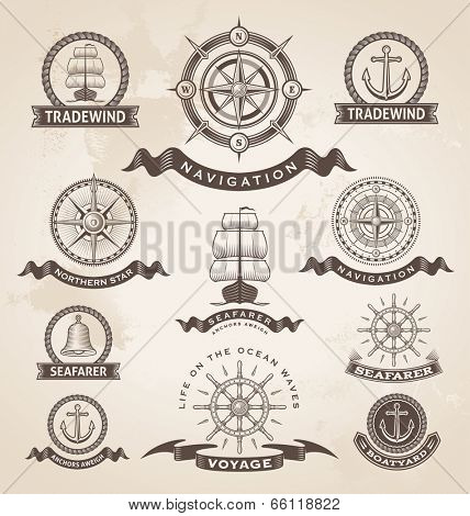 Vintage nautical marine label set. Retro vector design elements.